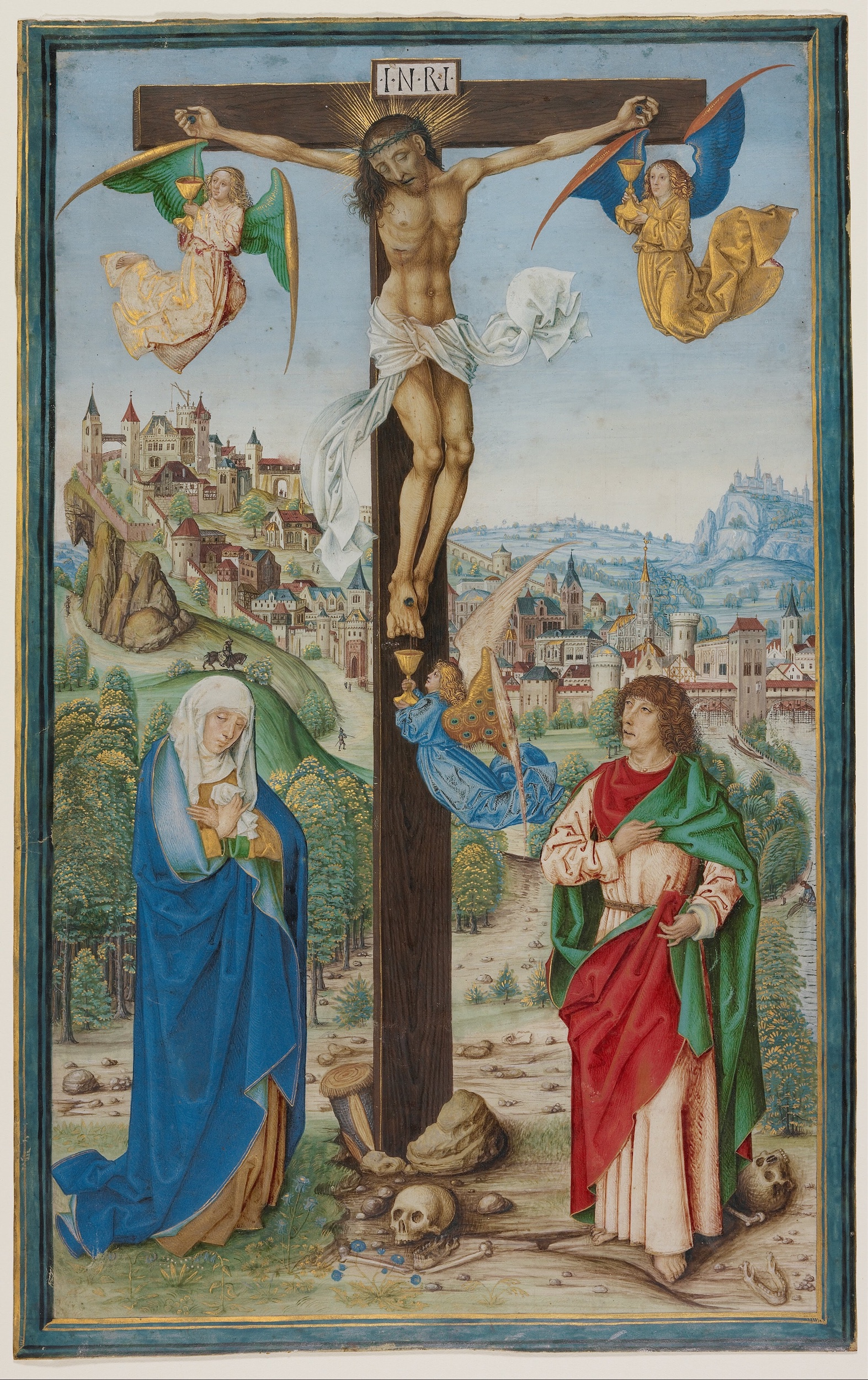 Artist: Unknown. Title: The Crucifixion. Date: Fourth quarter of 15th century. Google Art Project. Getty Center.  Web page  http://www.getty.edu/museum/  This work is in the public domain. {{ PD-US }}