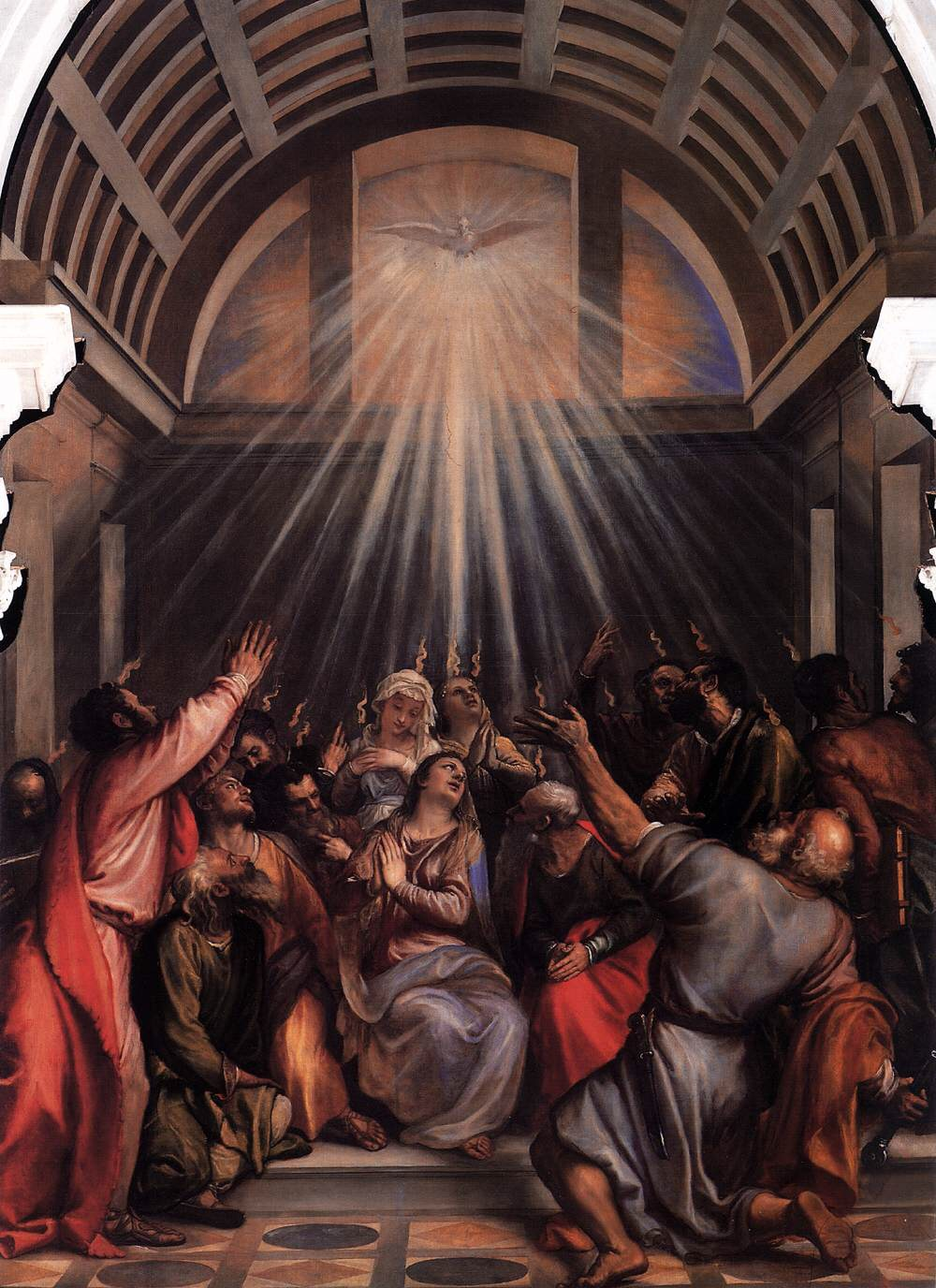 Artist: Titian. Title: The Descent of the Holy Ghost. Date: Circa 1545. This work is in the public domain. {{ PD-US }}