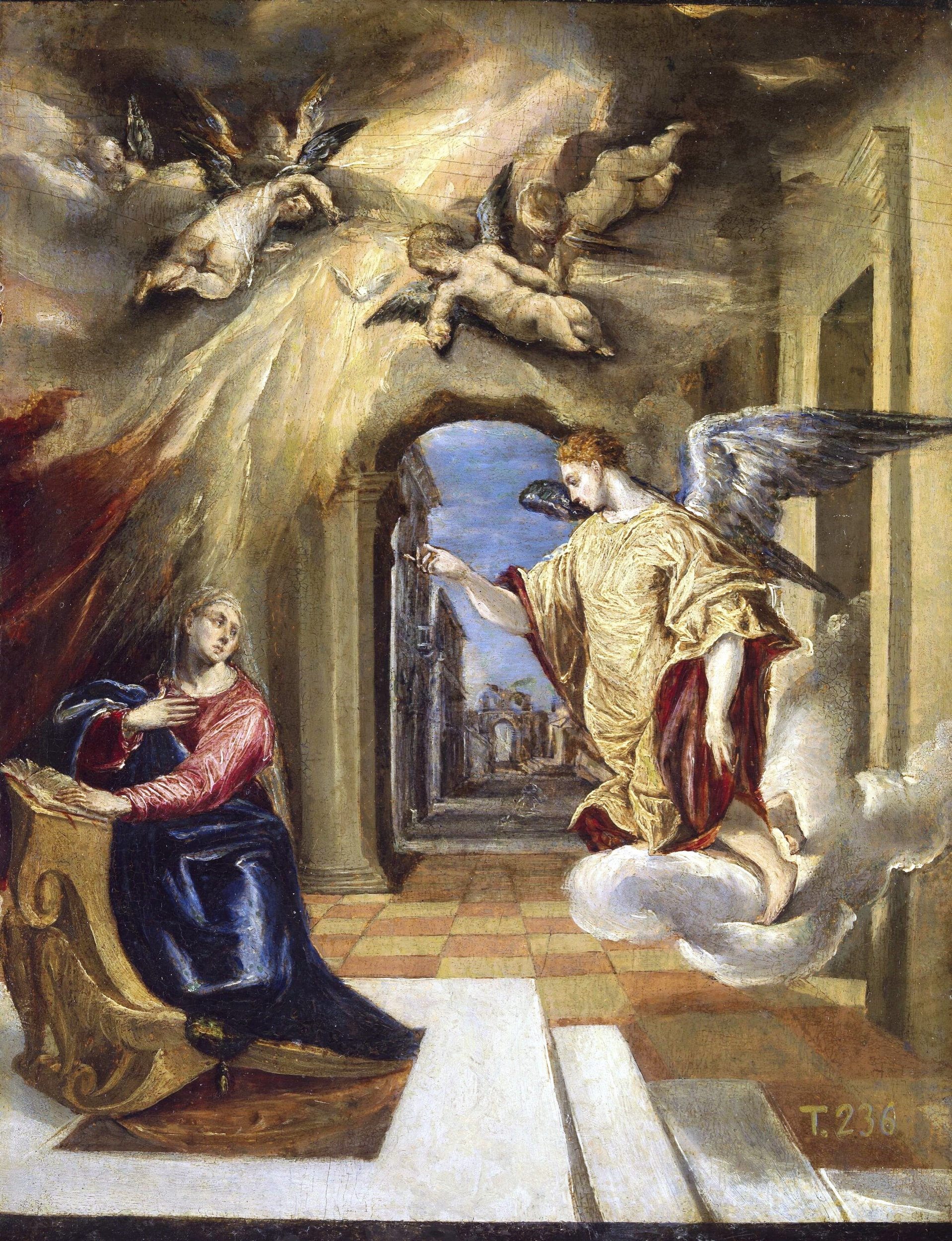 Artist: El Greco. Title: The Annunciation. Date: 1570-1572. This work of art is in the public domain.