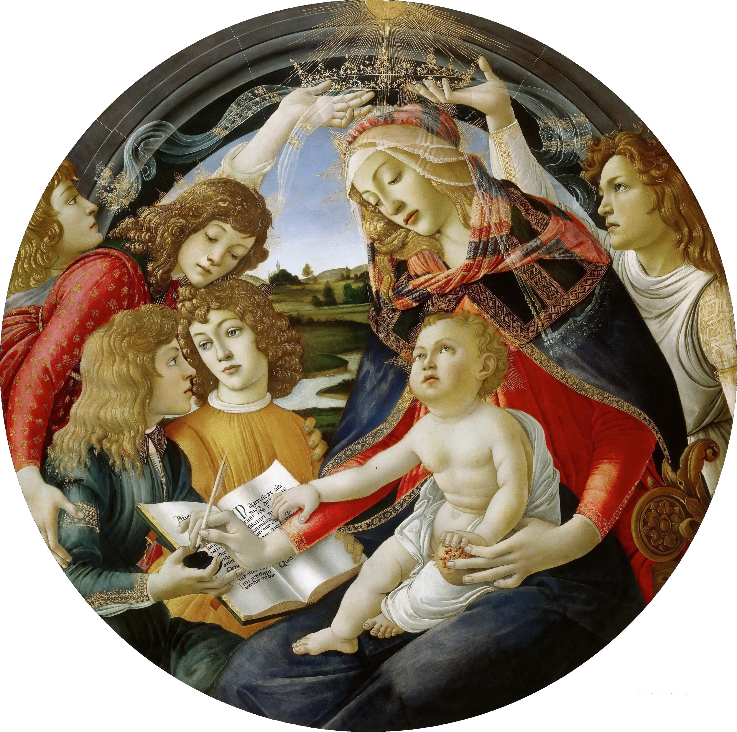 The Madonna of the Magnificat by Sandro Botticelli. Date: 1483. This work of art is in the public domain.