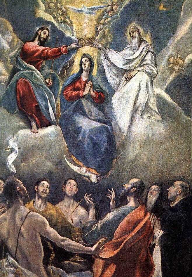The Coronation of the Virgin by El Greco. Date: 1591. This work is in the public domain. {{ PD-US }}