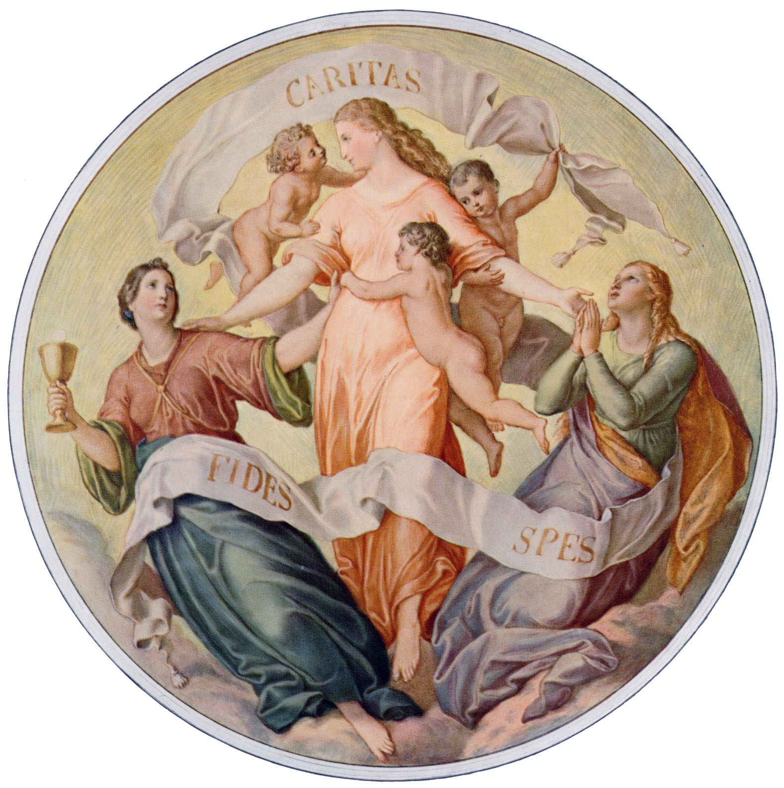 Artwork by: Julius Schnorr von Carolsfeld.  Fides, Spes, et Caritas.  Photographer: Velhagen & Klasing, Bielefeld. 1911. This artwork is in the Public Domain. {{ PD-US }}
