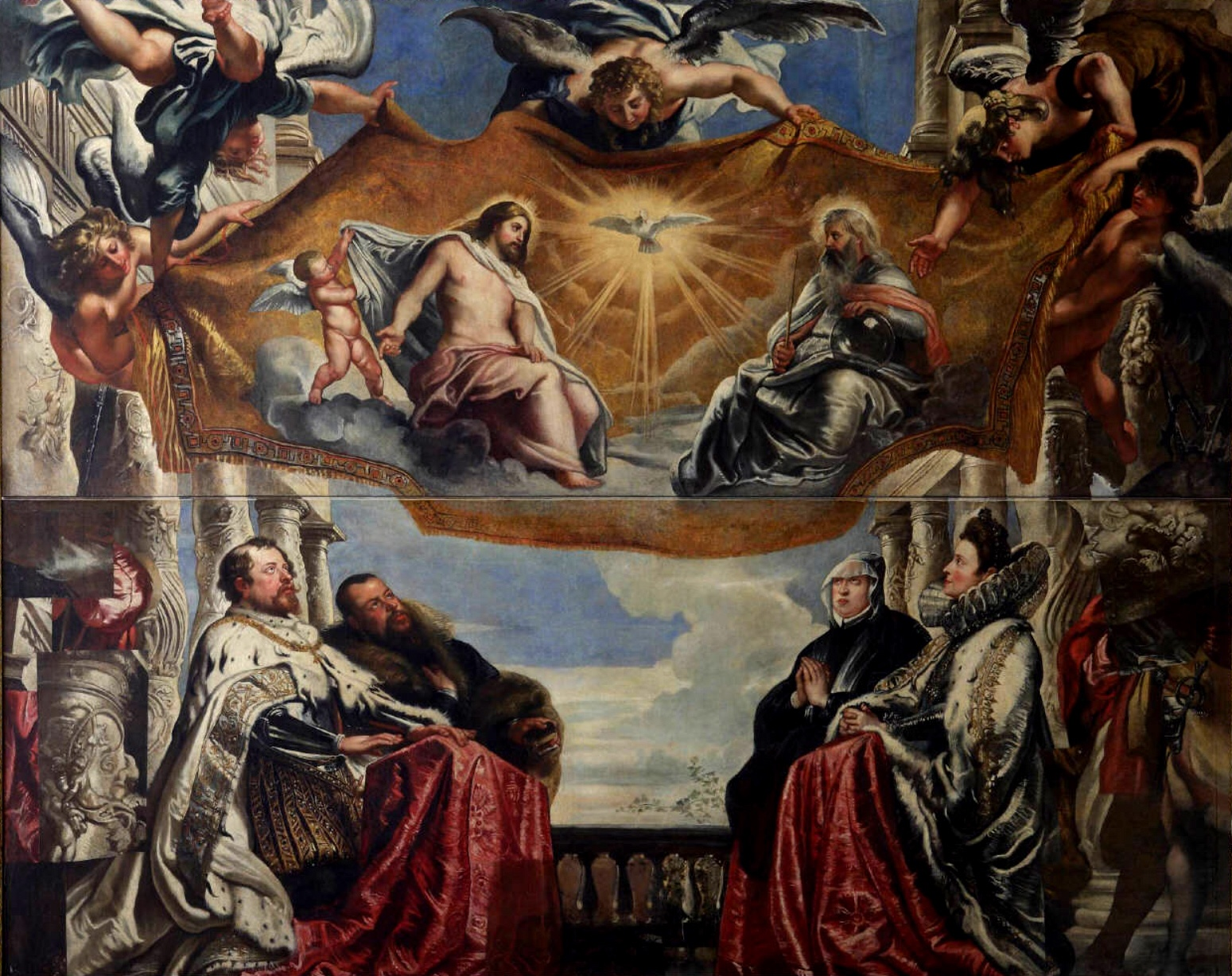 Creator:Peter Paul Rubens. Title: ''The Gonzaga Family Worshipping the Holy Trinity. Date: Between 1604 and 1605. This work is in the public domain. {{ PD-US }}