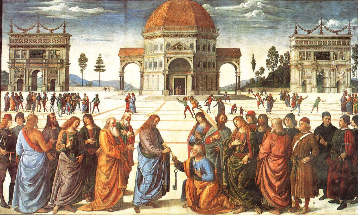 Christ Handing the Keys to St. Peter by Pietro Perugino (1481-82) . Location: Sistine Chapel Collection. This work is in the public domain. {{ PD-US }}