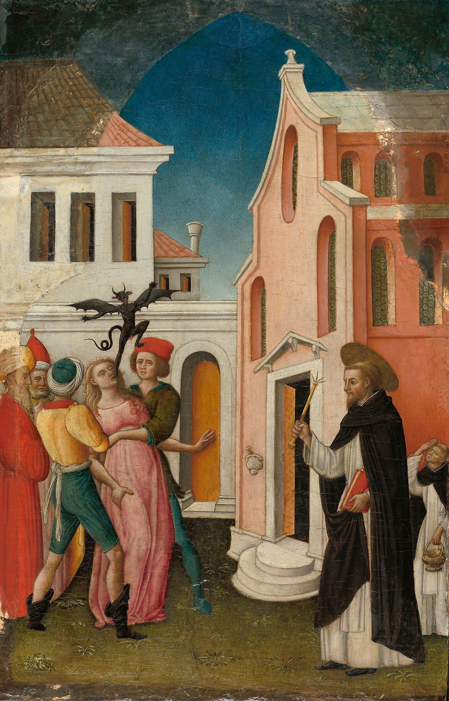 Artist: Antonio Vivarini. Title: Saint Peter Martyr Exorcizing a Woman Possessed by a Devil. Between 1440 & 1455. This work is in the public domain. {{PD}}