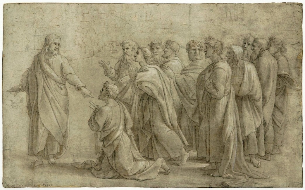 Delivery of the Keys to St. Peter by Raphael. This work is in the public domain.    {{PD-US}}