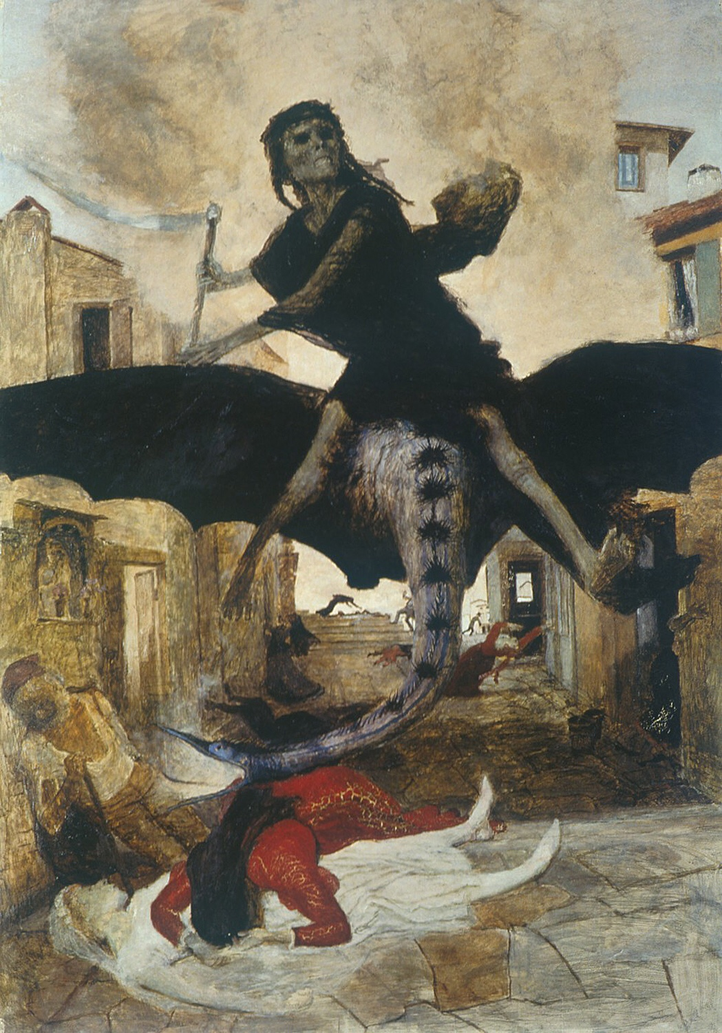 The Plague by    Arnold Böcklin   . 1898. This artwork is in the public domain. {{PD}}