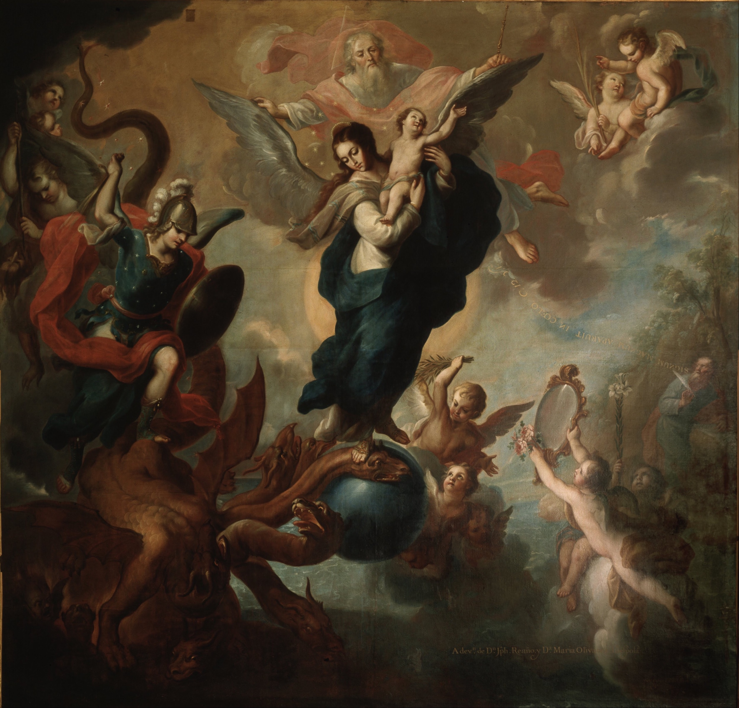 The Virgin of the Apocalypse by Miguel Cabrera. 1760. This work of art is in the public domain. {{PD}}