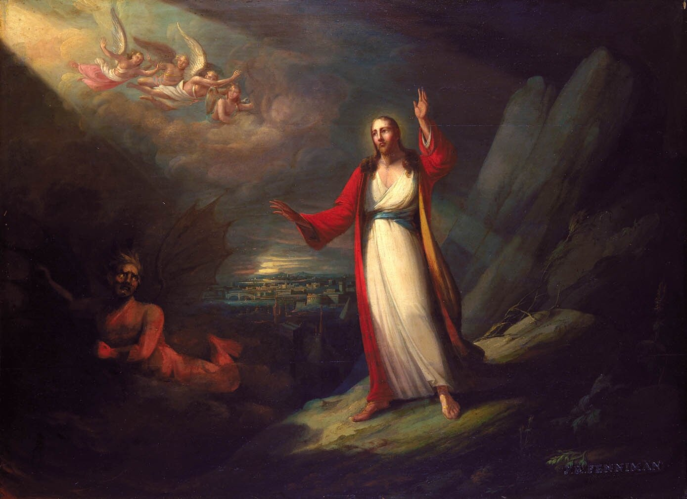 Artwork by: John Ritto Penniman. 1818. Christ Tempted by the Devil. This work is in the public domain. {{     PD-US     }}