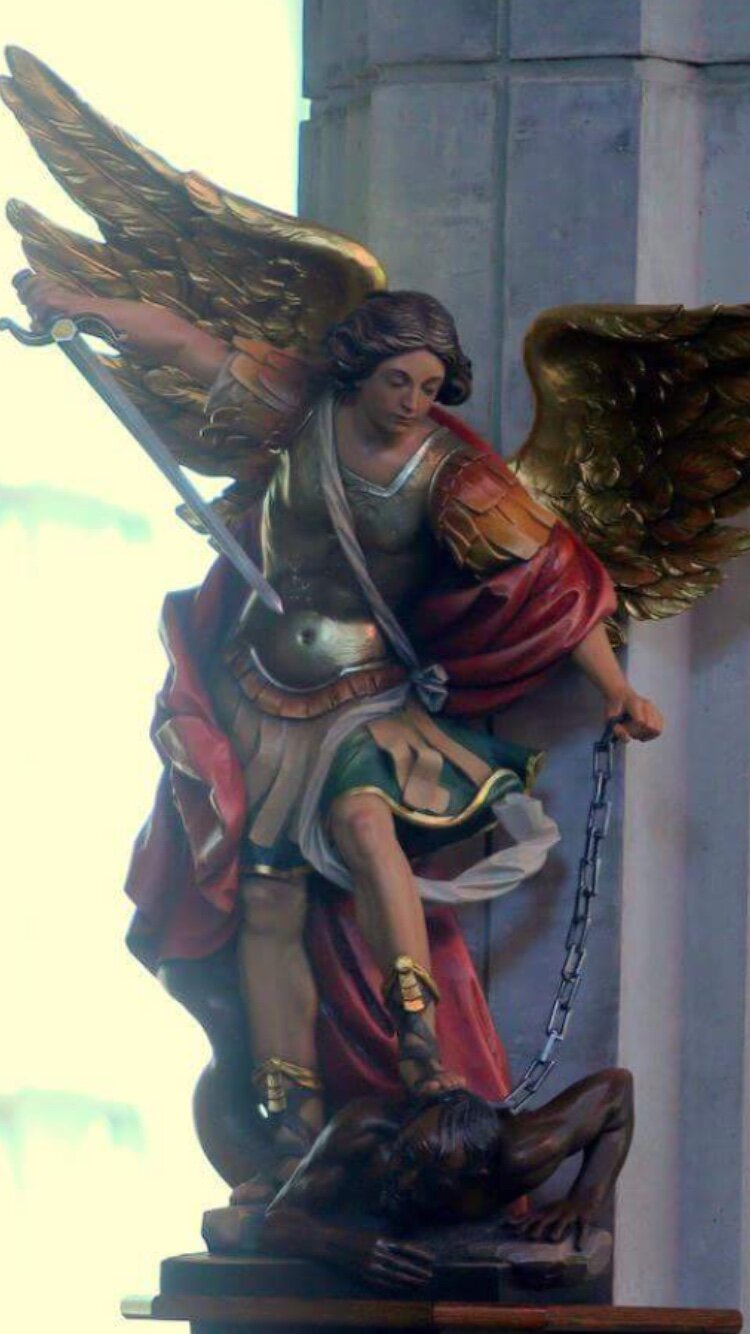 Statue of St. Michael at Prince of Peace Catholic Church.
