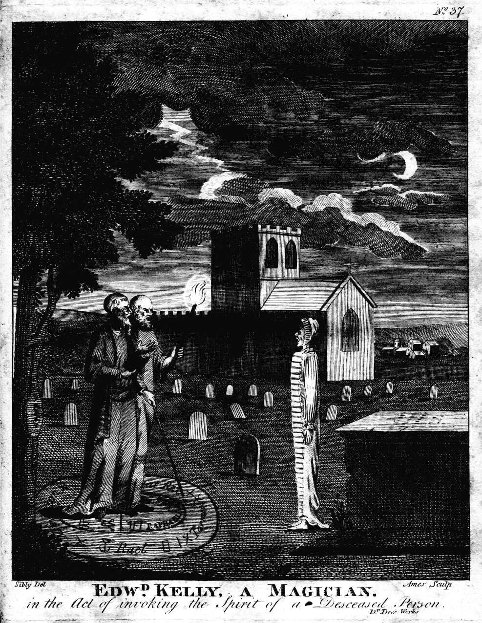 Edward Kelly, A Magician In The Act Of Invoking The Spirit Of A Deceased Person.  Engraved by Ames of Bristol (according to Fincham,  Artists and engravers of British and American book plates , 1897), original drawing by Sibly. {{PD}}    {{PD-US}}