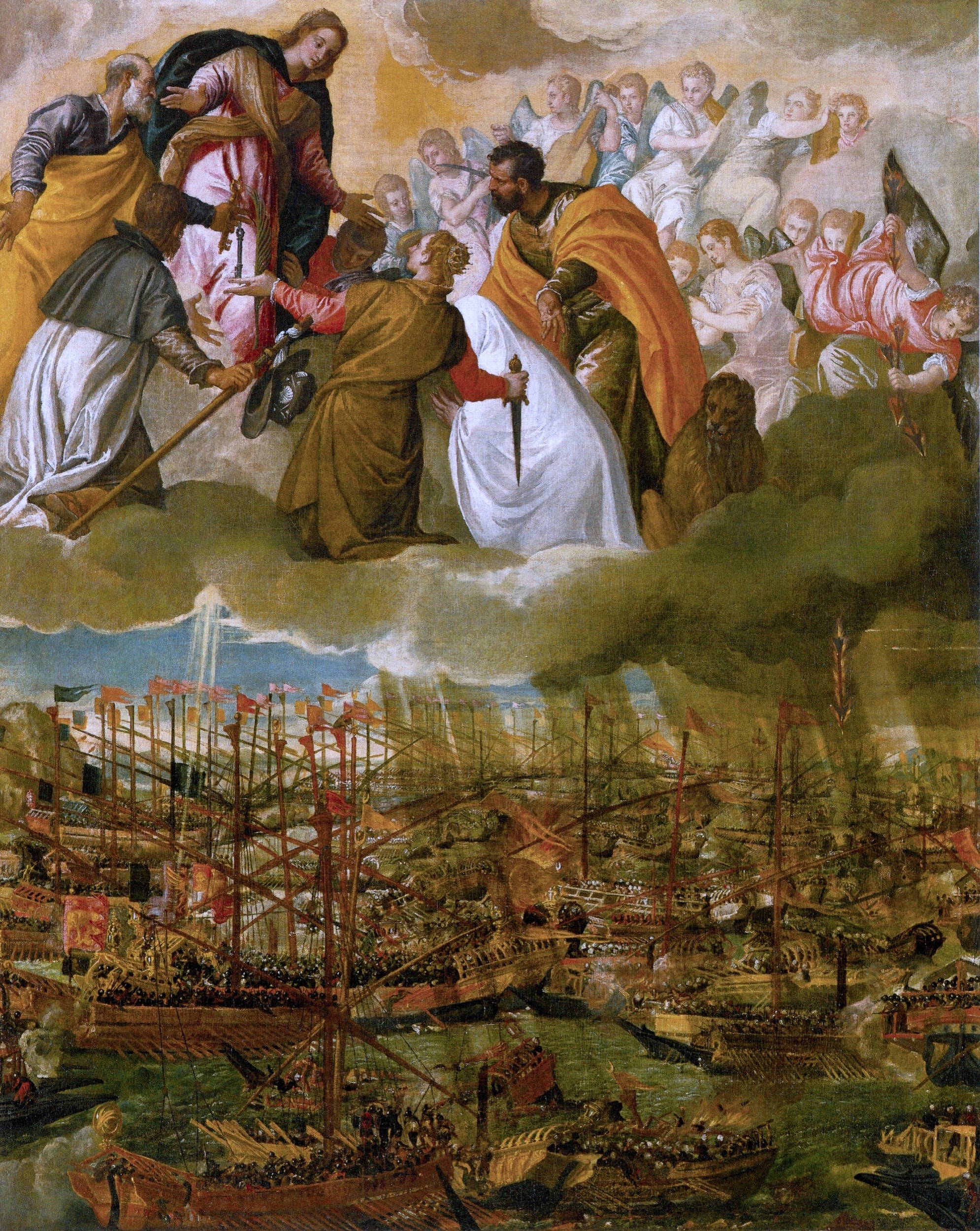 """The Battle of Lepanto"" by Paolo Veronese. Date: 1571. This work is in the public domain.      {{PD-US}}"