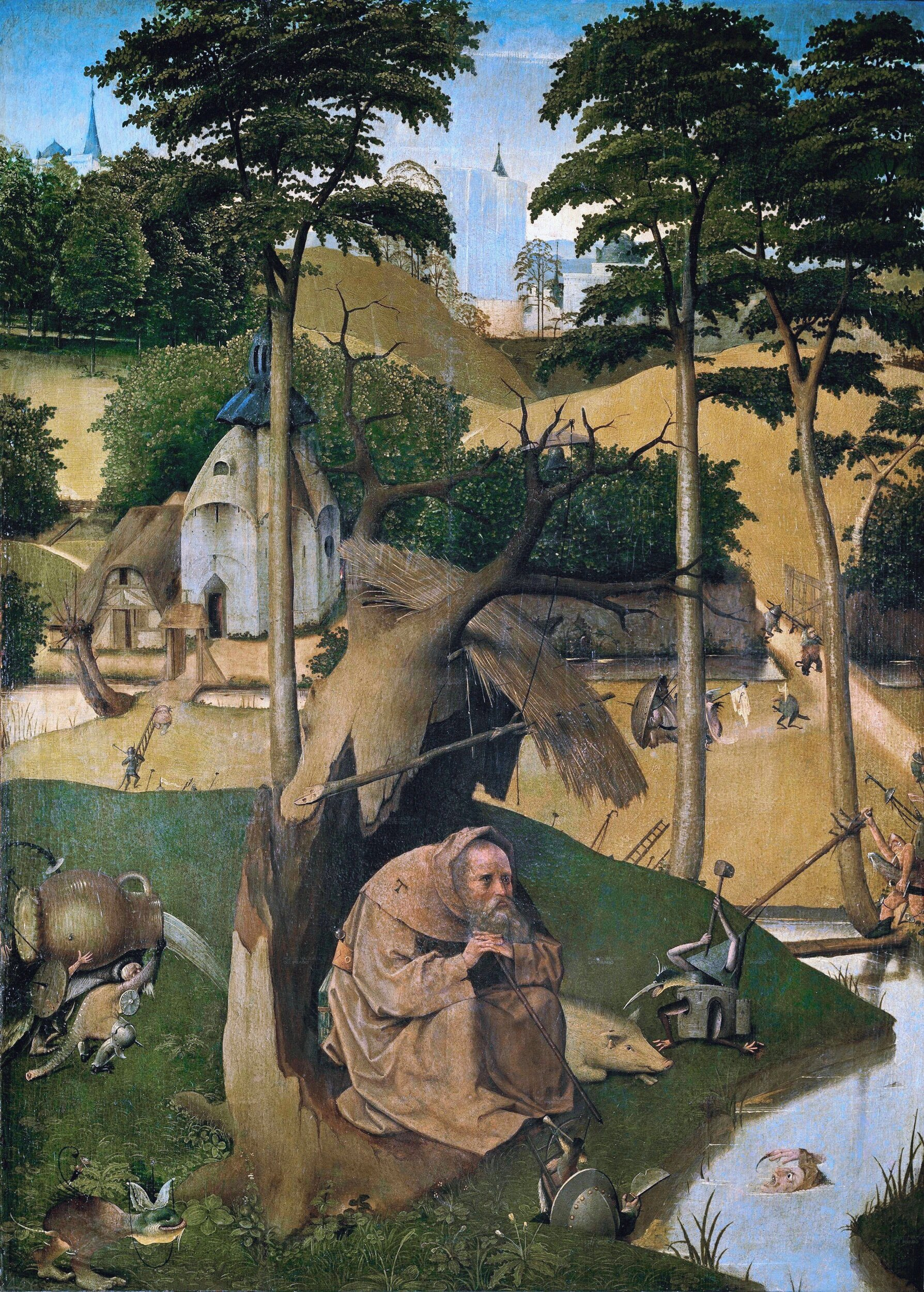 The Temptation of St. Anthony by    Hieronymus Bosch    Circa 1490. This artwork is in the public domain.    {{PD-US}}