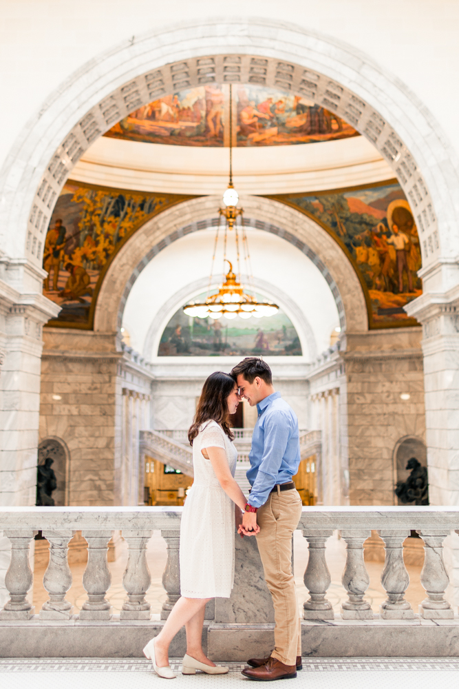 Karen and Keith chose a subtle palette that coordinated well with both the inside and the outside of the Utah State Capitol building. The dress shirt and cute white dress gave their session a classy feel.