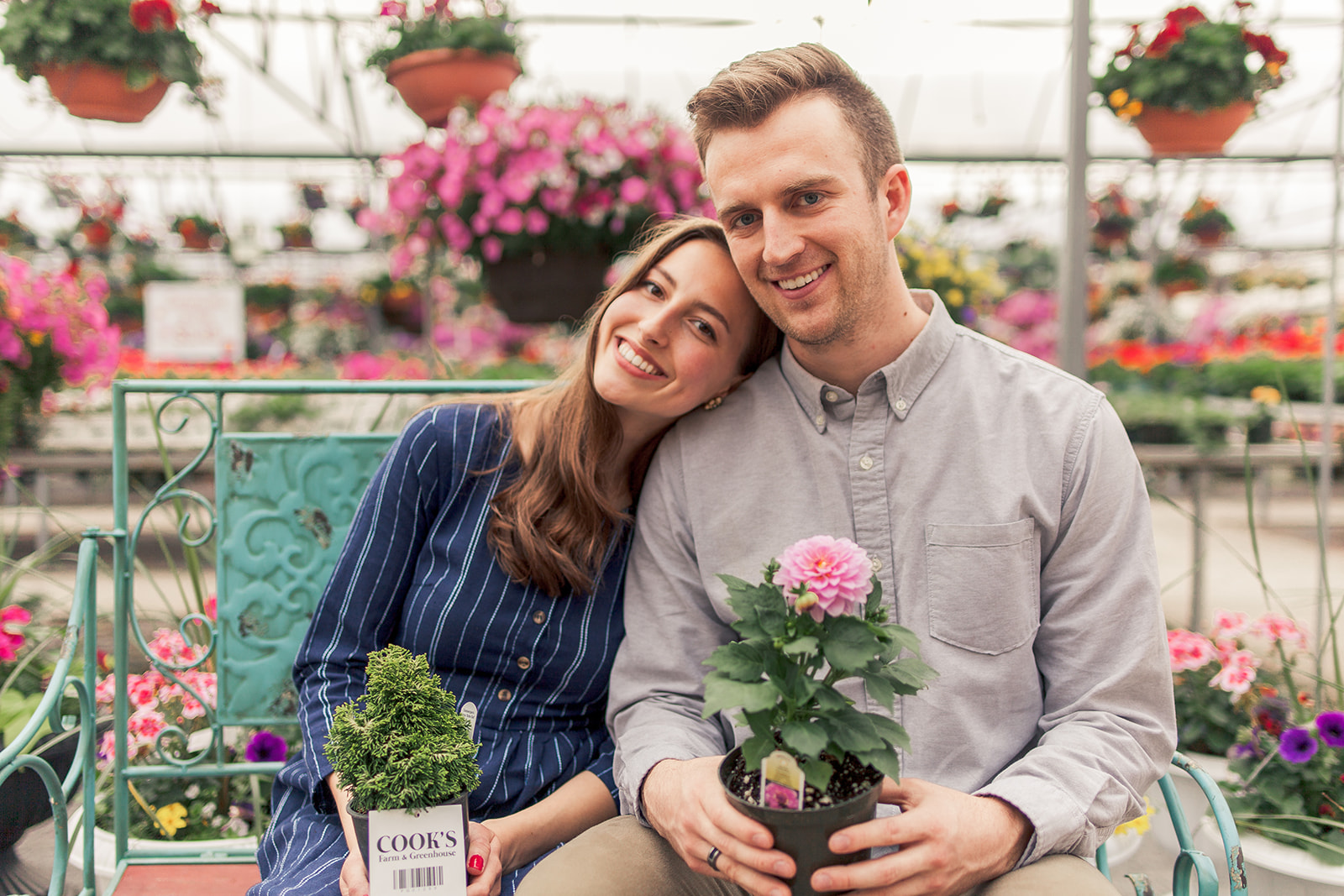 Cook's Greenhouse, greenhouse engagement photos, spring engagement photos, relaxed engagement photos, candid engagement photos, Forge Jewelry