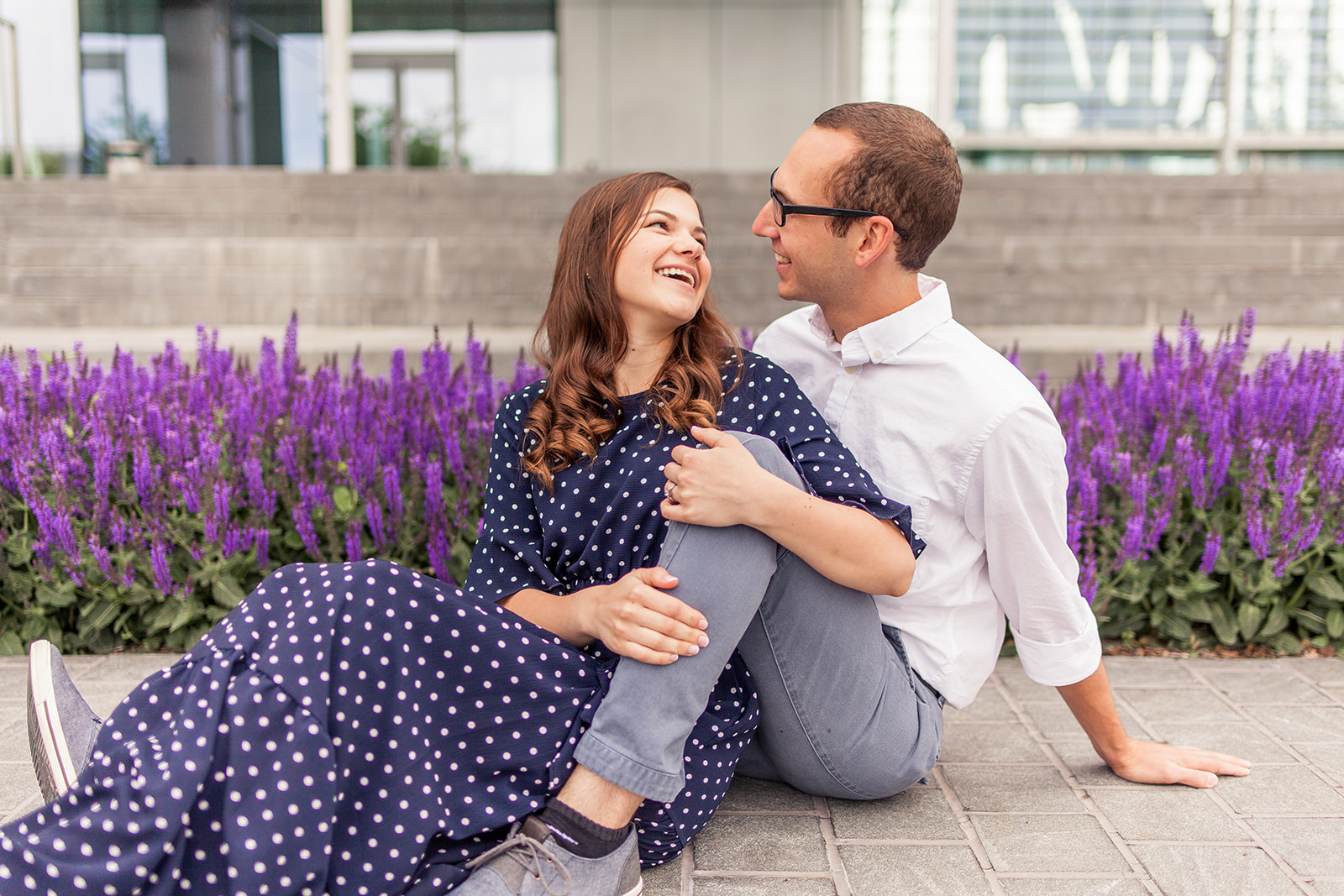 Lavender engagement photos, candid engagement photos, laughing engagement photos, NuSkin Provo, Forge Jewelry