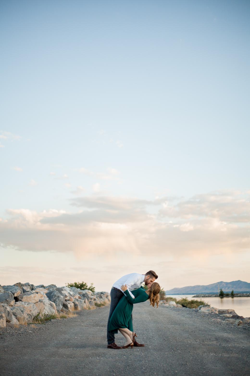 Utah Lake engagement photos, Utah Lake State Park, dip kiss engagement photos, formal wear engagement photos