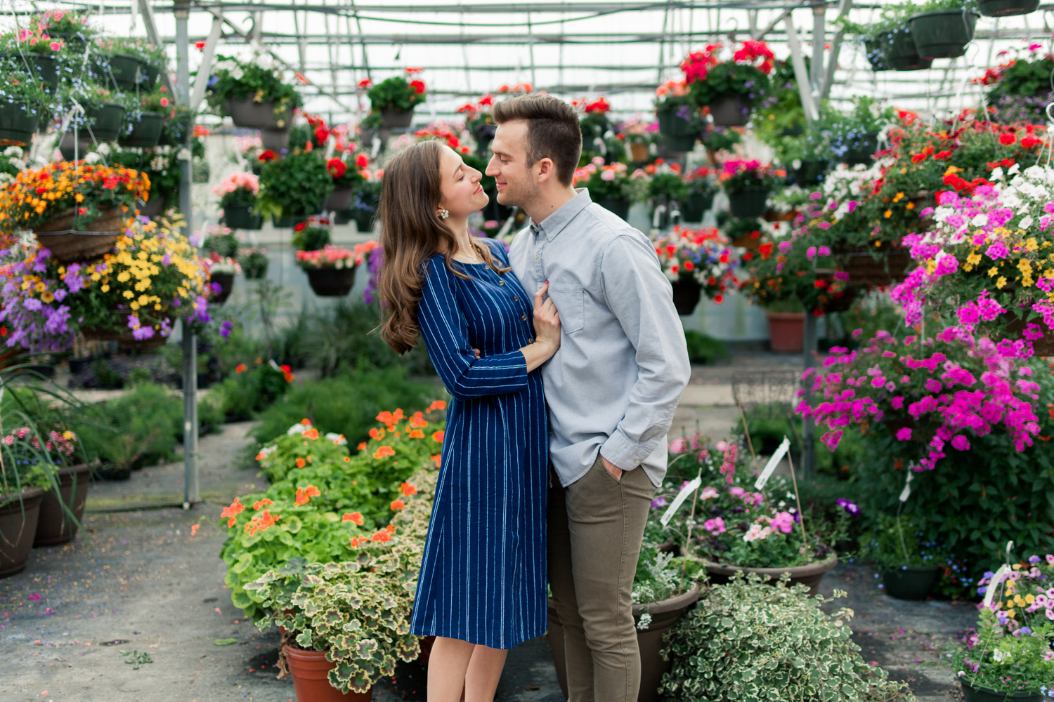 Greenhouse engagement photos, Cook's Farm and Greenhouse
