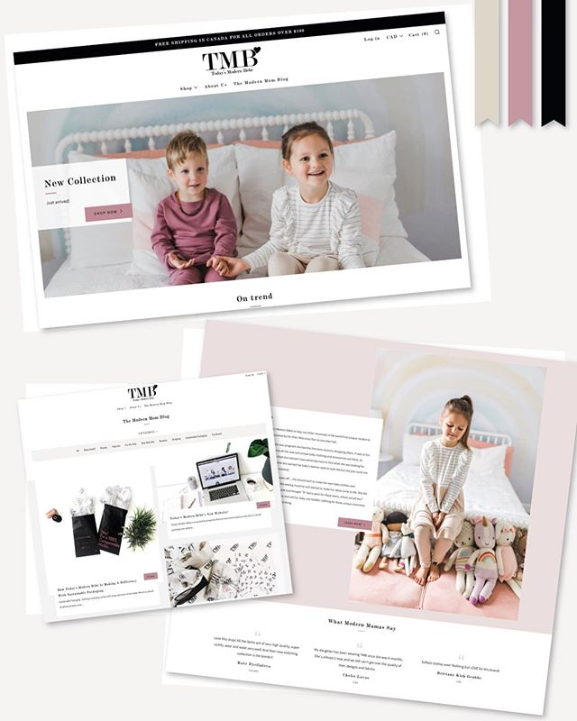 👶🏼// In July I built a new site for @todaysmodernbebe, their old site was on wix, wasn't that easy to manage, was a little messy, was missing key user experience and buyer confidence building features and was in serious need of an upgrade. I moved them to @shopify ahead of their #FW19 launch, and, with the help of @influencemedia.ca and her #SEO & ad expertise it was a big success 🎉 Today's Modern Bebe have managed the site since launch so I've now started helping them design their prints for #SS20 - watch this space! 😉