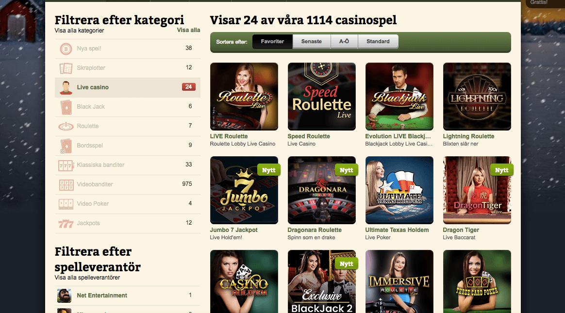 Casinostugan har även ett utmärkt utbud av live casino spel