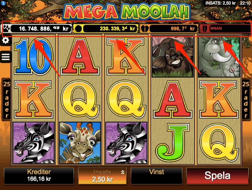De 4 olika Mega Moolah jackpottarna