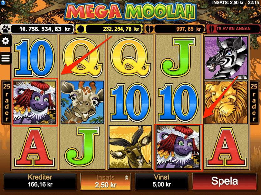 Två Mega Moolah scatter symboler