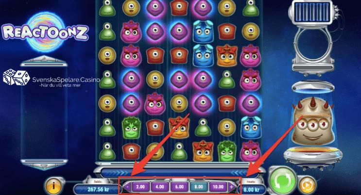Du väljer enkelt din önskade insats per snurr genom att klicka på minus och plus knapparna   innan du börjar spela