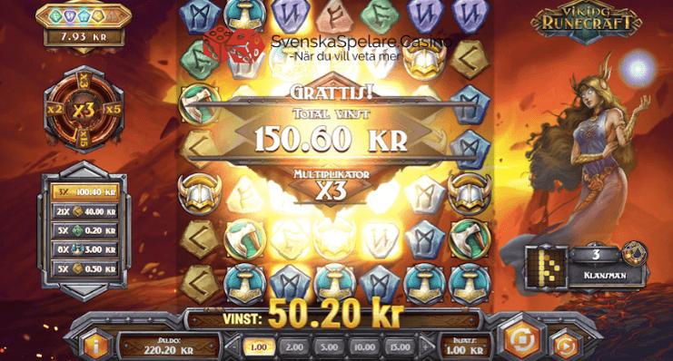 Denna gången blev det en fin vinst på 150 gånger insatsen. Maxvinsten i Viking Runecraft är hela 5 000 gånger insatsen