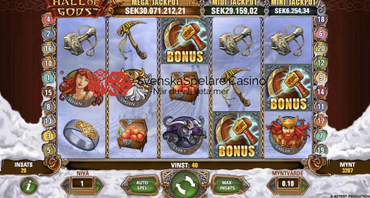 3 hammare = Bonusspelet där du har möjligheten att vinna en av jackpottarna startar