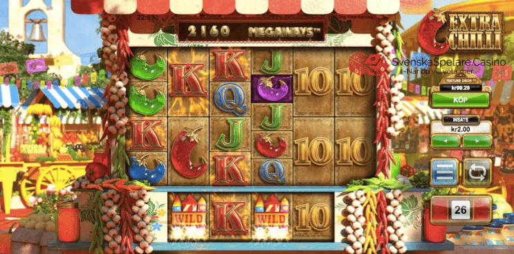"""""""K"""" symbolerna gav en vinst i detta exemplet. Notera att extrahlujet under spelplanen hjälpte till att öka vinsten denna gången"""