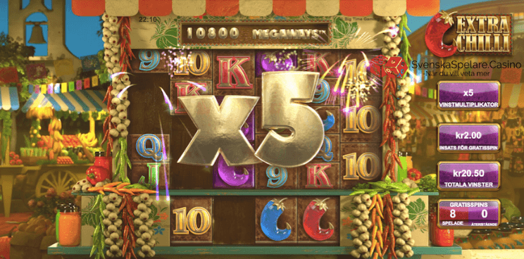 Denna gången lyckades vi jobba upp multiplikatorn till x5 men då vi bara hade 8 freespins så fick vi inte chansen att försöka få in fler vinster. Ju fler gratisspins du har, desto större chans att vinna större vinster