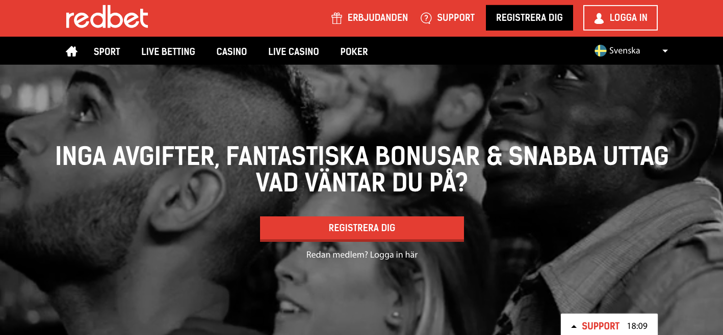 Redbets nuvarande svenska hemsida som snart stänger ner