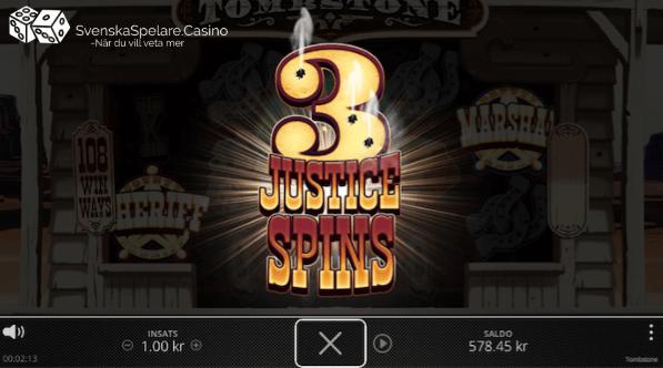 och aktiverar då 3 Justice Spins