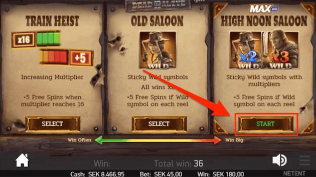 Spelaren valde High noon saloon alternativet