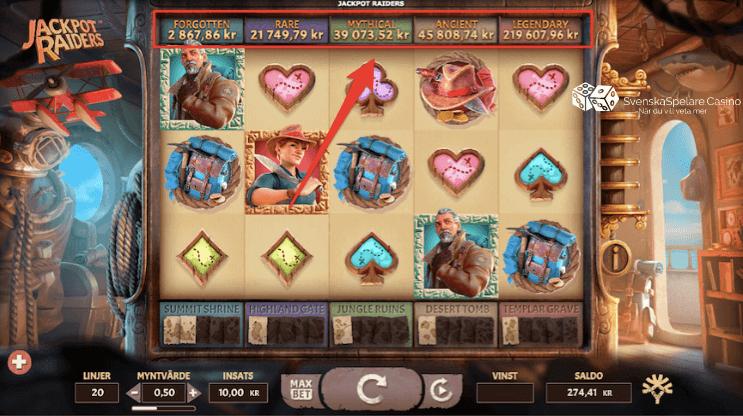 Här ser du de 5 olika jackpottarna och deras nuvarande värde när du spelar