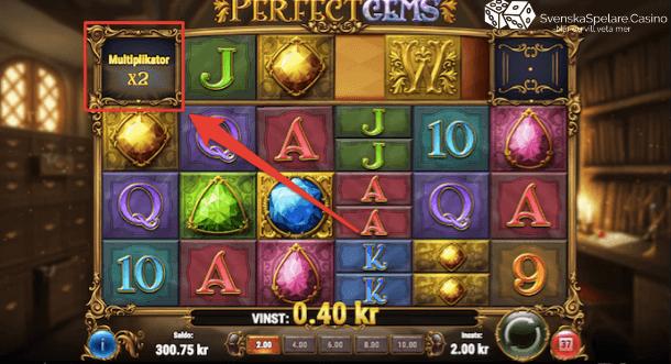 Här ser du att multiplikatorn ökar efter en vinst men sen återgår till x1 när du slutar att vinna