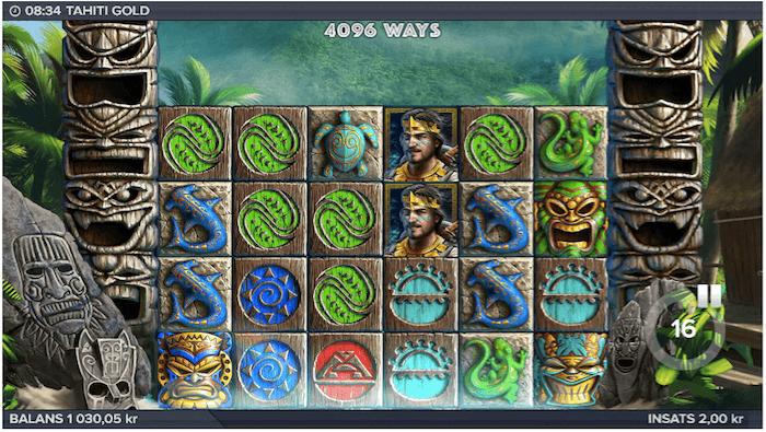 """Vanlig vinst med hjälp av de gröna symbolerna på """"hjul"""" 1, 2 och 3"""