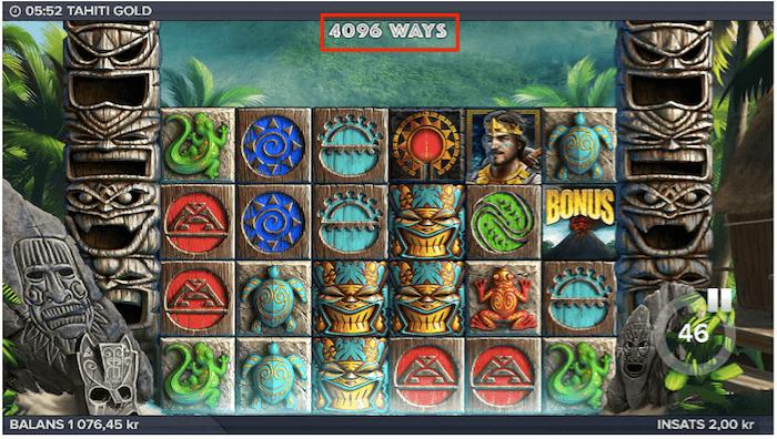 Så här ser det ut när du spelar med 4 096 vinstvägar