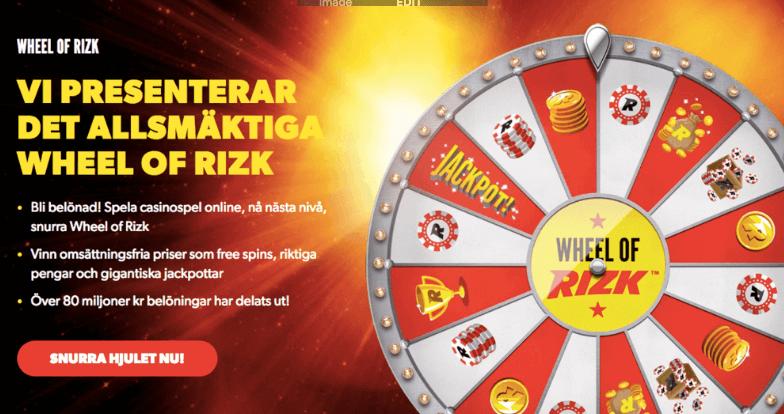 Gamification / lojalitetsprogram som Wheel of Rizk är nu borttagna av spelbolagen