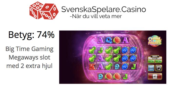 Opal Fruits Betyg 74% SvenskaSpelare Casino Recension.png
