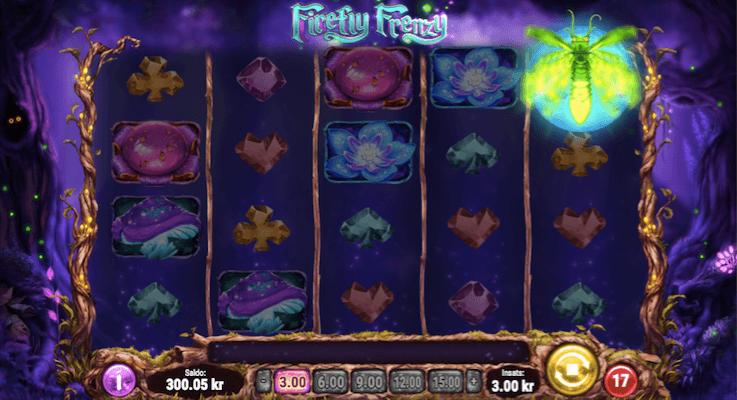 I detta spelet behöver du inte landa 3 scatter symboler för att aktivera freespinsen utan här behöver du se att en eldfluga hamnar på månen som på hjul 5 här