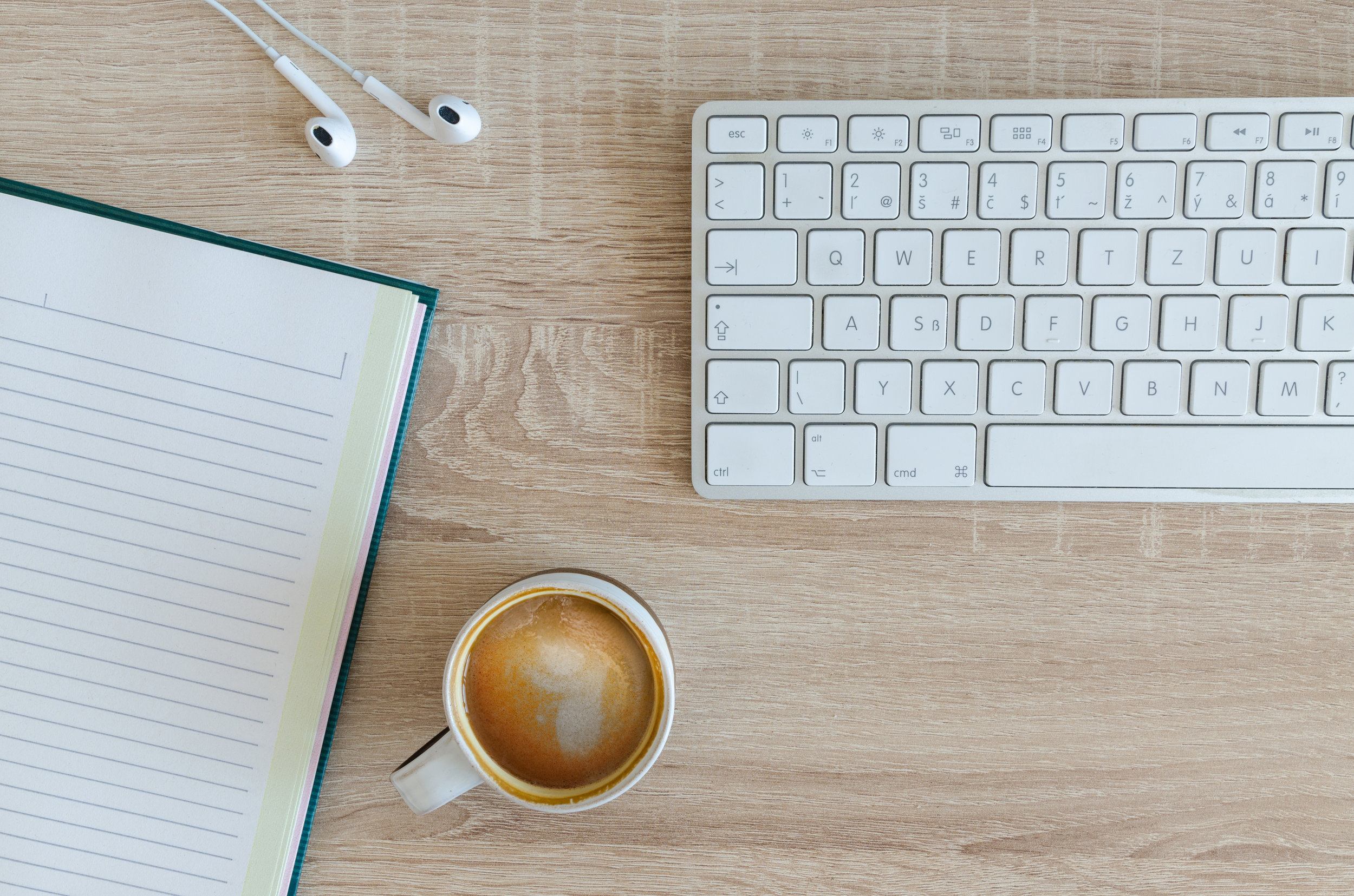 coffee notebook website copywriting