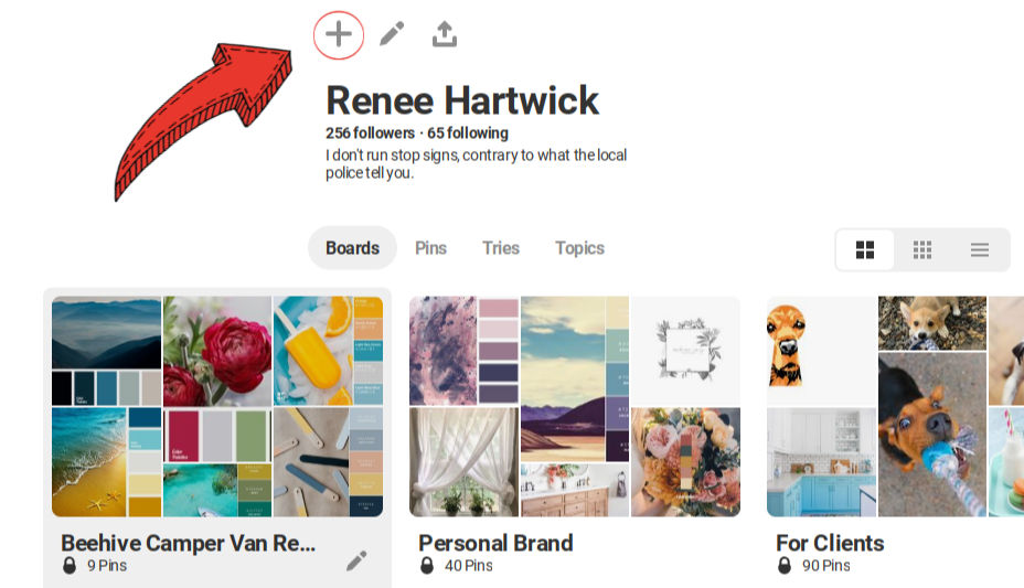 Step One: Go to Profile Page + Create New Board
