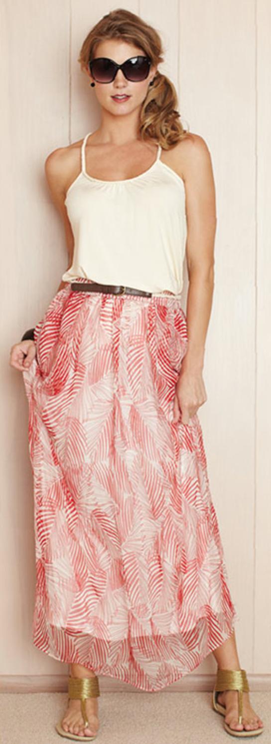 Bouclé SF Palm Print on Tart Collections Silk Skirt.