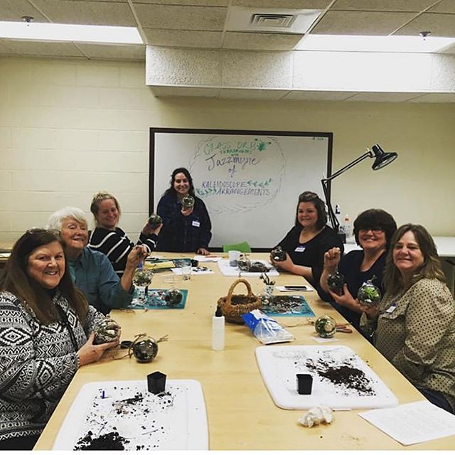 Had a blast teaching the terrarium making class @artsafire_studio can't wait to teach spring classes! Thanks ladies for coming out and making such beautiful little terrariums with me. . . . . #artafirestudio#kaleidoscopearrangments#mainelearns#sanfordmaine#maine#maineflorist#newenglandflorist