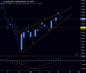 MSFT - Jan 23 2019 - Currently in a wedge and is on watch for a breakout below support.
