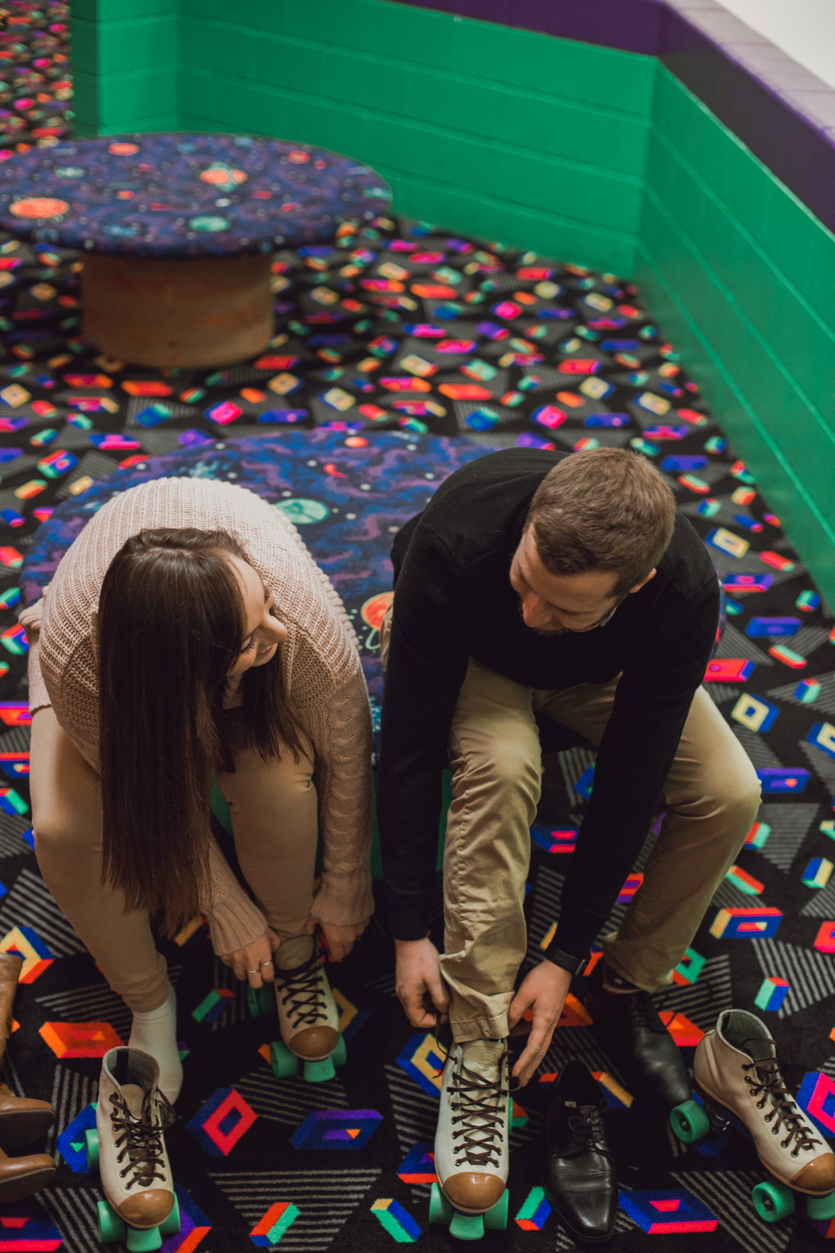 roller rink engagement session, wooddale fun zone engagement session, roller skate engagement session, minneapolis cafe lucrat engagment session, cafe lucrat engagement session, minneapolis minnesota engagement session-www.rachelsmak.com1.jpg