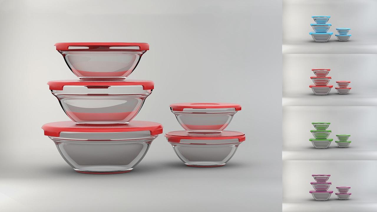 LEFT OVER - 19,90€ - Lot de 5 bols en verre transparent pour conserver tout vos petits plats au frais comme au chaud.