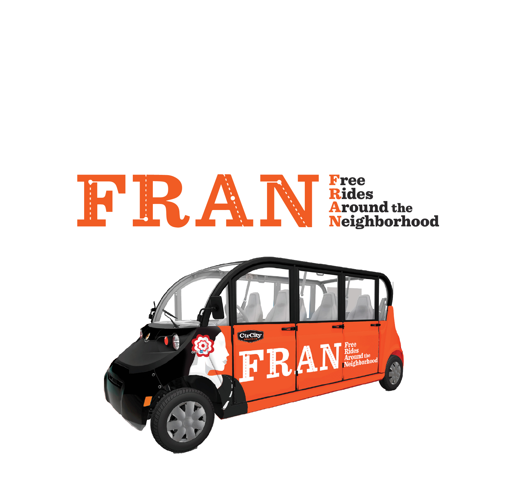 Need a FREE Ride? - FRAN's got you covered!Visitors in the area can request free rides via the Center City app. It's an app-based electric vehicle system similar to other ride-hailing services.Utilize FRAN, ride from the parking lot to the event in no time!