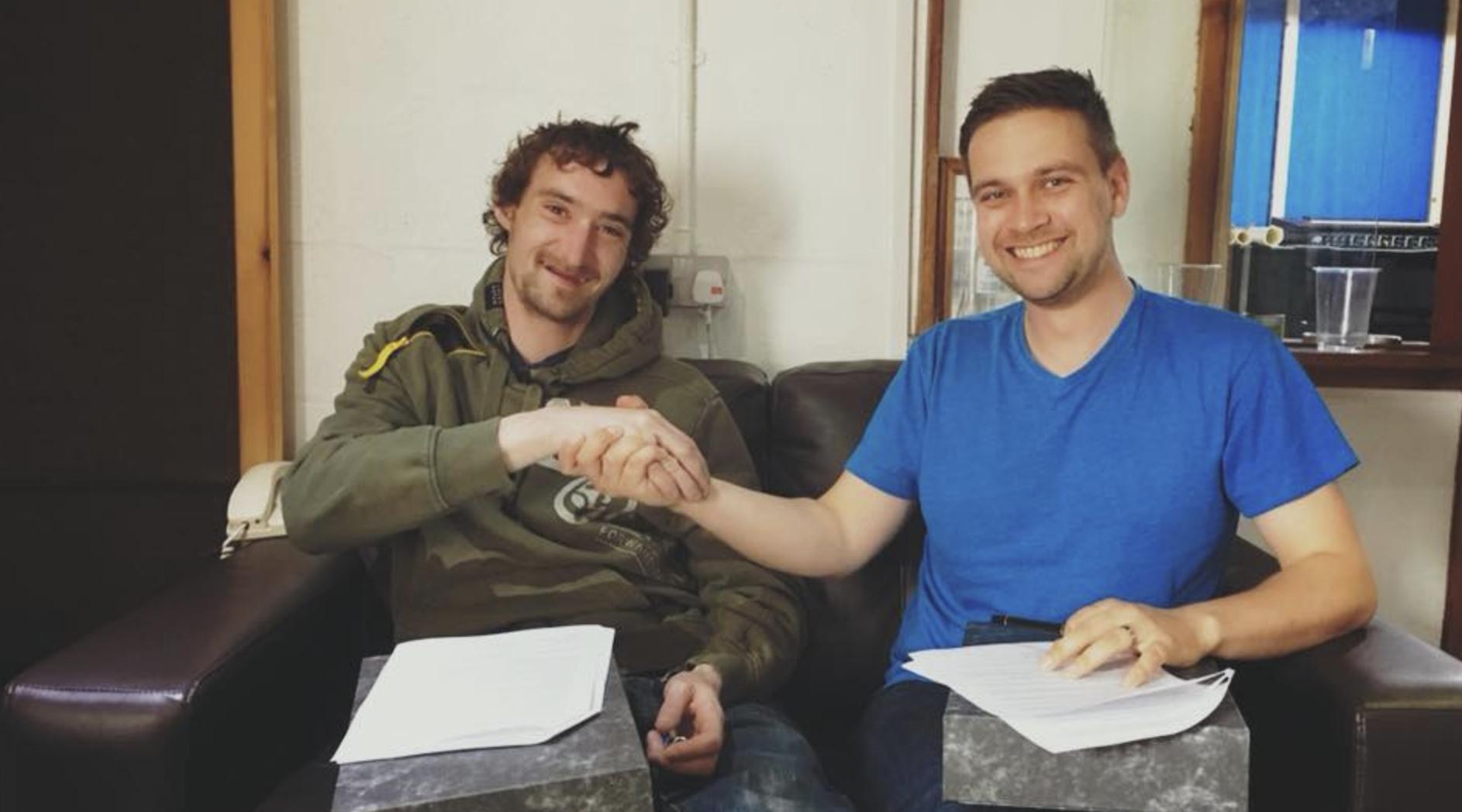 Calum 'Boydie' Macleod of Peat & Diesel signing up to Wee Studio Records August 2018.